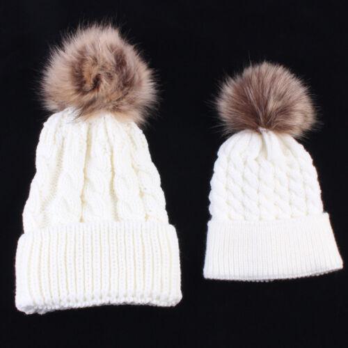 2Pcs Mom/&Baby Hats Winter Warm Women Boy Girl Hairball Knit Beanie Caps Gift XI