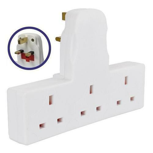 3 Way Electrical Mains Extension UK Plug Adapter Cable 13 Amp 240v ...