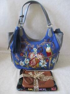 SHARIF BLUE FLORAL U0026 PARROT LEATHER EMBROIDERED SHOULDER BAG PURSE - NWT | EBay