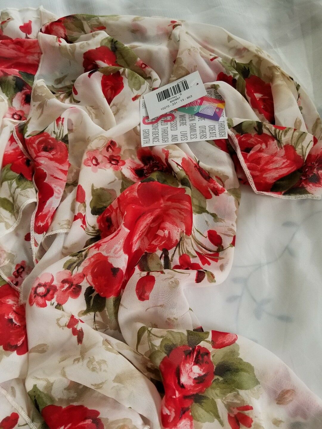 NWT LuLaRoe Shirley Small  Red w Pink Vintage pinks White  Just Stunning