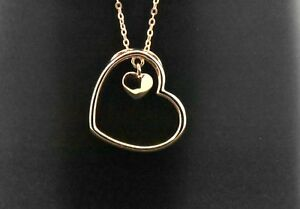 925-Sterling-Silver-Rose-Pink-Gold-Overlay-Double-Heart-Pendant-Charm-Necklace