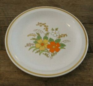 Vtg-JcPenney-Festive-Yellow-Orange-Flowers-Floral-Serving-Platter-Chop-Plate