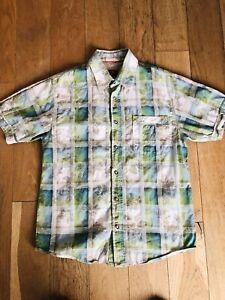 Para-Hombres-Camisa-Manga-Corta-Cuadros-de-cara-gorda-Talla-S-Pequeno-Blanco-Verde-Azul-Inmaculada