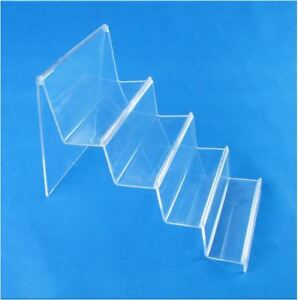 2PC-4-Tier-14cm-Wide-Step-Clear-Acrylic-Retail-Display-Stand-Rack-Wallet-Purse