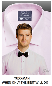 NEW Mens Pink Slim Fit Tuxedo Soft Microfiber Laydown Spread Collar Tux Shirt