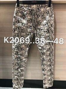 Boyfriend Baggy Stretch Jeans schwarz Animal-Gallon-Streifen 38-48 Karostar