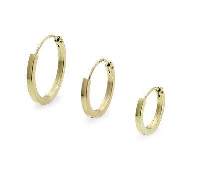 Begeistert Massive 585 Gelb Gold Creole Ohrring Ohrschmuck Flach Goldohrring Einzel Herren