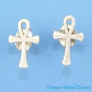 Cross Ankh Stud Earrings .925 Sterling Silver