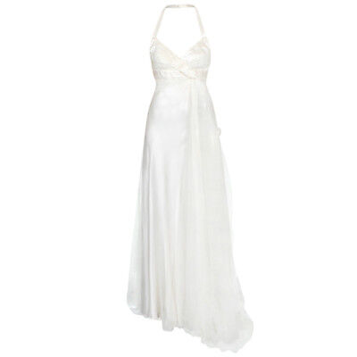 VERSACE pleated silk satin draped tulle backless halter top wedding dress 42/8