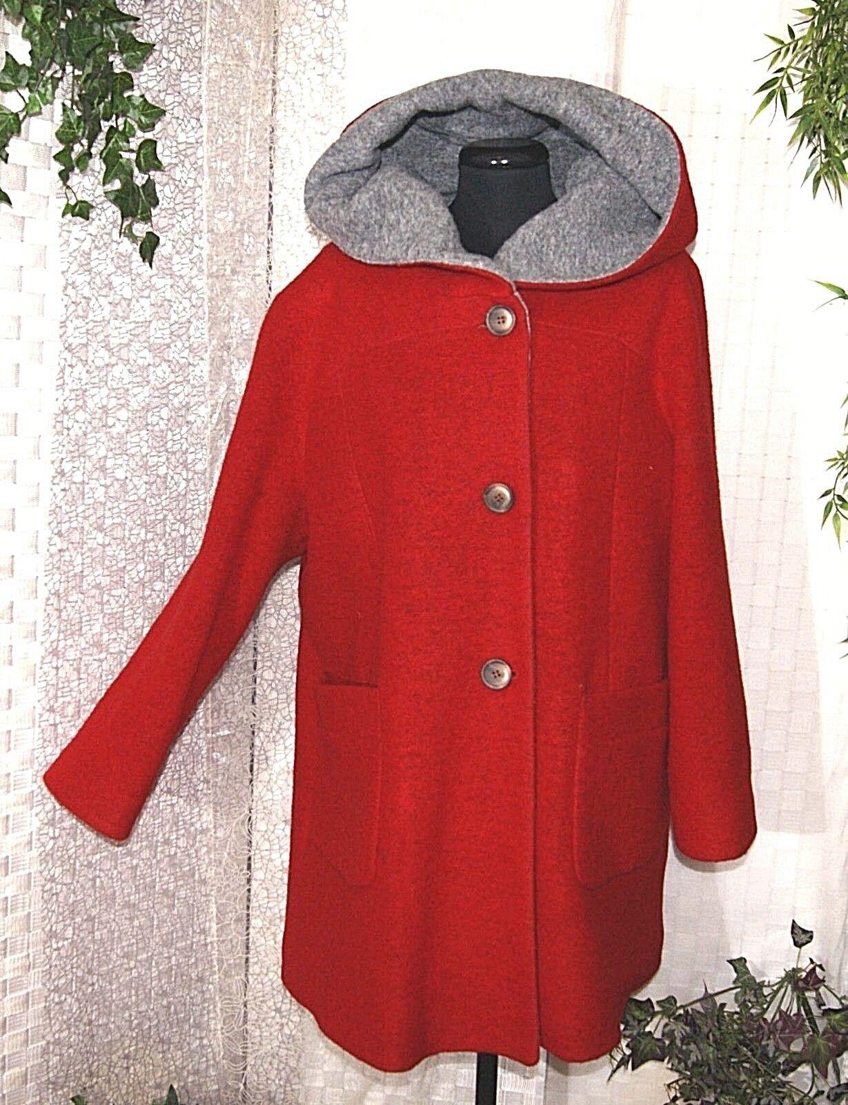 Giacca da Donna CIVAS walkwolle Rosso Grigio Cappuccio 46 46 46 48 caldo Lagenlook Lana 457806