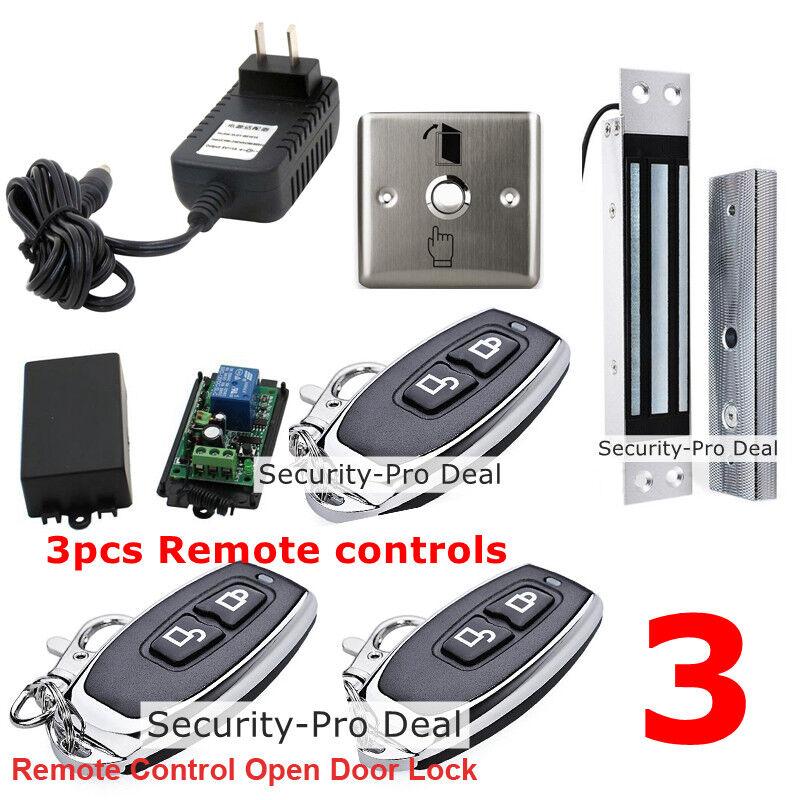 Puerta del Reino Unido Sistema De Control De Acceso + Cerradura Magnética Eléctrica +3 controles remotos inalámbricos