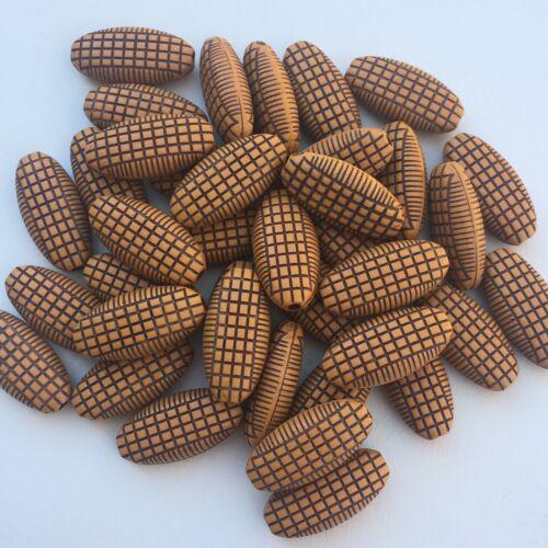 23x11mm Acrylic Tan Brown DIY Craft Bead 30X Oval Tribal Pattern Beads