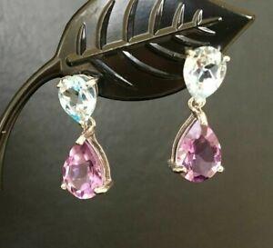 925-Sterling-Silver-Amethyst-Blue-Topaz-Teardrop-Earrings-Multi-Gemstone-Drop