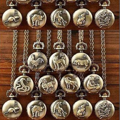 Vintage Women Men Chinese Zodiac Snake Dog Tiger Quartz Pocket Watch Necklace