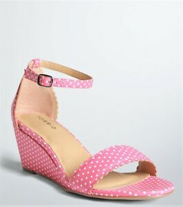 NEW-Torrid-Pink-White-Polka-Dot-Wedge-High-Heel-Sandals-Shoes-12W-or-13W-Wide