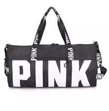 73334a1243 Victoria s Secret PINK Black Canvas Duffle Bag Yoga Holiday Gym Travel  Weekend