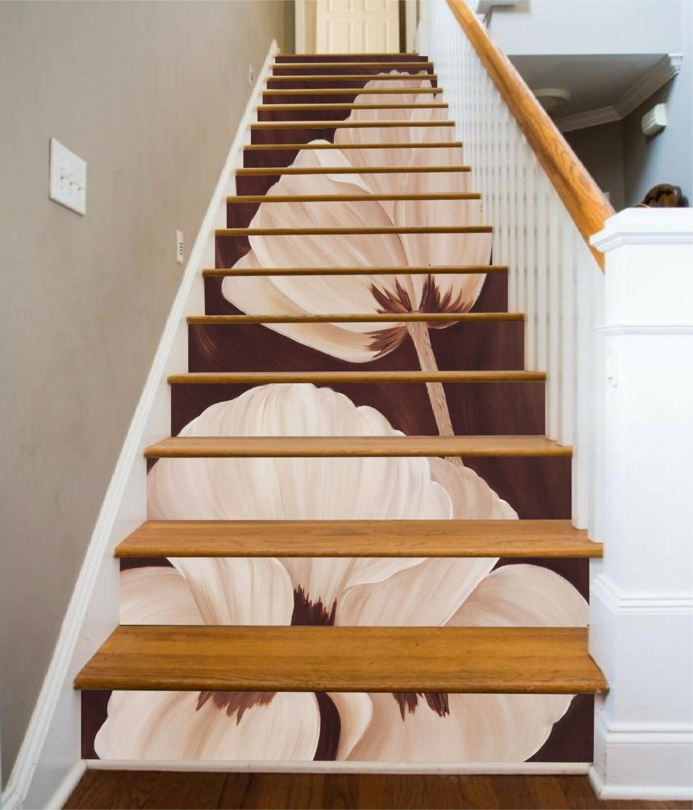 3D Graceful Flowers Stair Risers Decoration Photo Mural Vinyl Decal Wallpaper UK