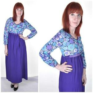 VINTAGE-1960-039-s-Purple-Empire-Line-Maxi-Dress-8-10-Psych-Boho-Mod-Retro-Floral