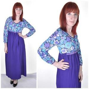 VINTAGE-1960-039-s-Purple-Empire-Line-Maxi-Dress-8-10-Psych-Boho-Mod-Retro-Floral
