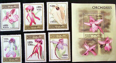 Cambodia 1997 Orchids set of 6 and Minisheet unmounted mint.