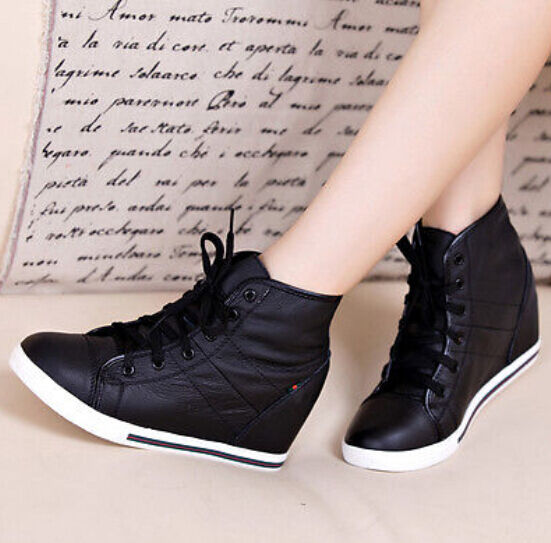 Ladies Girls Leather Boots Lace Up High Top Wedge Trainer shoes Sneaker Outwear