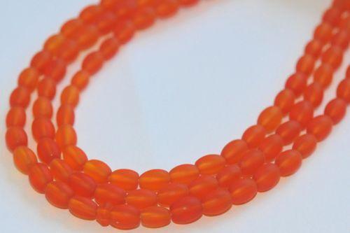 200 perles de verre olives 6x4 mm Orange Mat P2-12