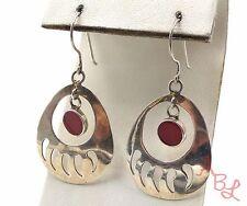 Sterling Silver Vintage 925 Navajo Bear Claw Dangle Coral Earrings (6.5g) 557678