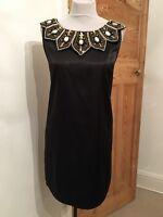 Today's Woman Black Heavily Sequin/beaded Neckline Dress Size 16