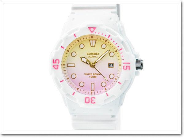 LRW-200H-4E2 White Pink Casio Ladies Watches 100M Date Display Analog Brand New