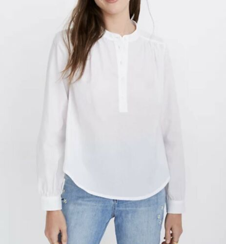 Madewell Shirred Popover Top White Cotton Small
