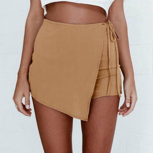 Damen Cover Up Hosenrock Shorts Hotpants Kurze Hose Riemchen Sommer Partyhose