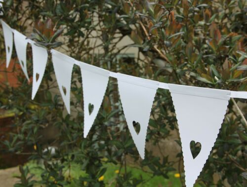 30 flags White Wedding Party bunting Christening Anniversary Decorations 10m