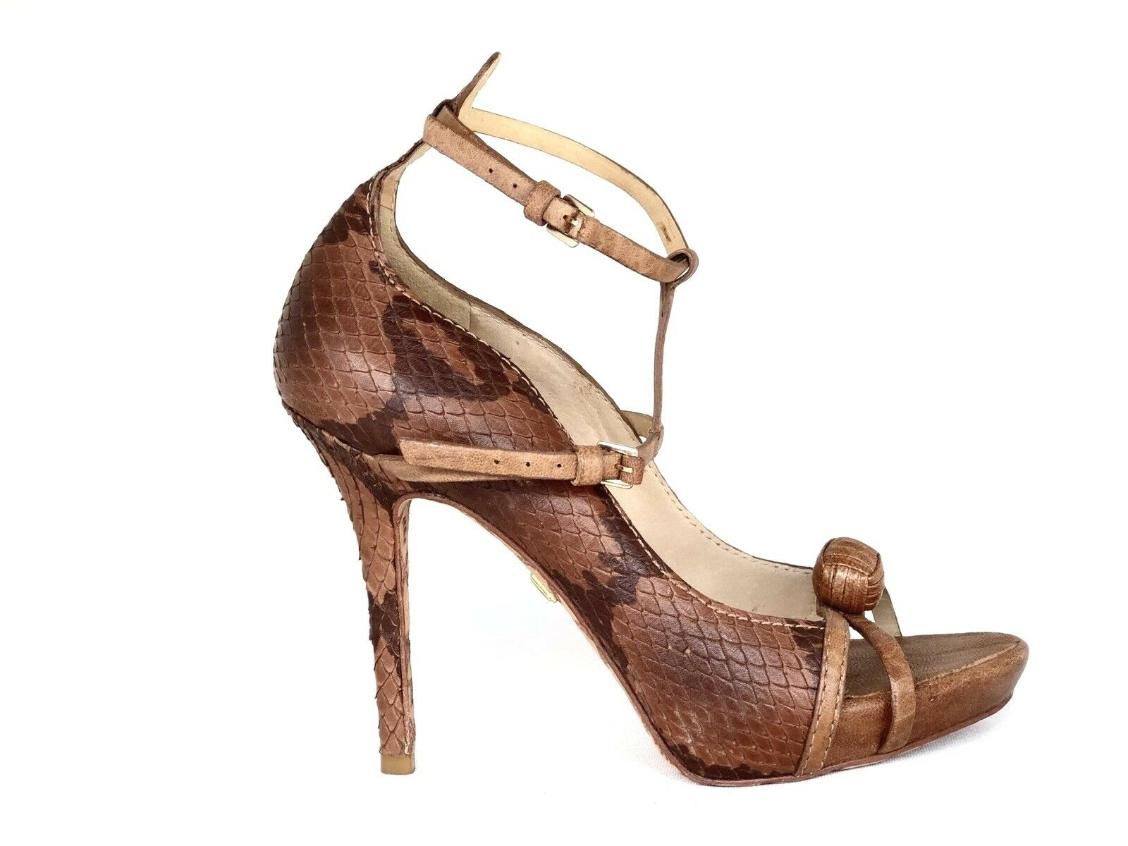 L.A.M.B Brown Piton  Snake Leather Ankle Strap Pump Designer Heel shoes 7 M