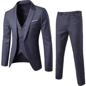 Men-039-s-Formal-Suit-3-pieces-Jacket-Pant-Vest-Business-Party-Wedding-Blazers-Dress