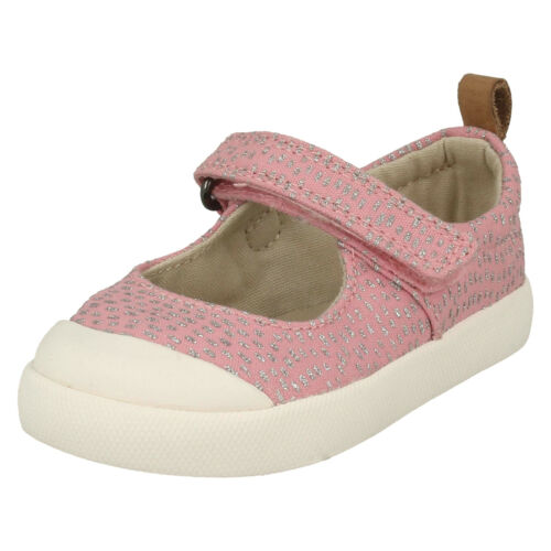 HALCY WINK GIRLS CLARKS BABY PINK RIPTAPE CASUAL DOODLES PUMPS CANVAS SHOES SIZE