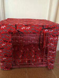 Bleu-Rose-Rouge-Scotties-chiot-chien-Crate-Cage-Cover-fabrique-sur-commande-large