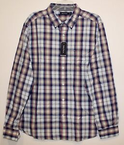 Nautica-Mens-Blue-Plaid-Chest-Pocket-Button-Front-Shirt-NWT-69-Size-2XL-XXL