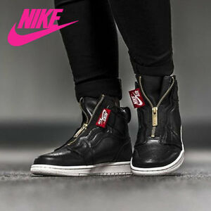 Nike AIR JORDAN 1 HIGH ZIP BLACK WHITE RED GOLD Shoes Women s sz ... 6be93f1fb