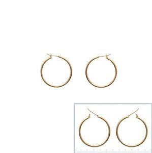 Boucles d/'oreilles Créoles 14 mm FIL ROND 2 mm Plaqué OR NEUF