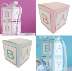 Baby-Shower-Favours-Boxes-x10-Party-Candy-Bomboniere-Gift-Square-Sweets-Macaron