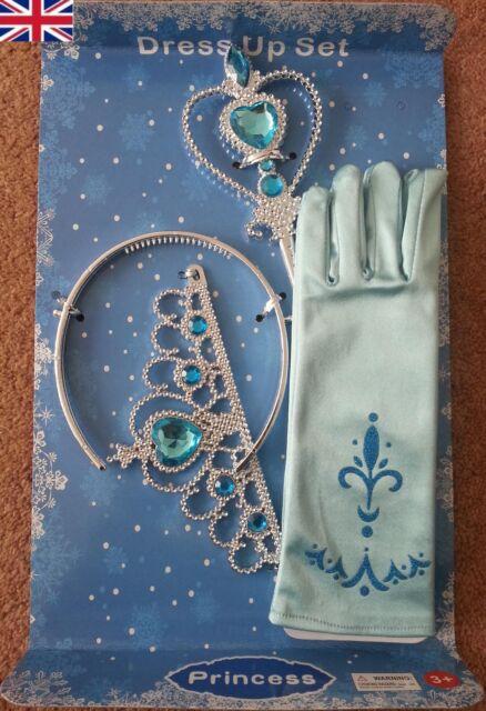 New Frozen Princess Queen Elsa Wand Crown & Pale Blue Gloves Dress up 3 Pcs Set