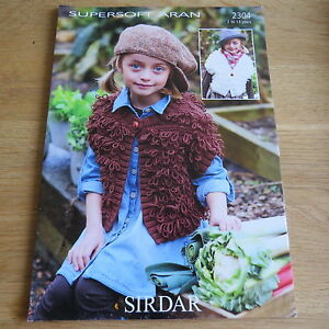 2304 Loopy Waistcoats Sirdar Supersoft Aran Pattern No