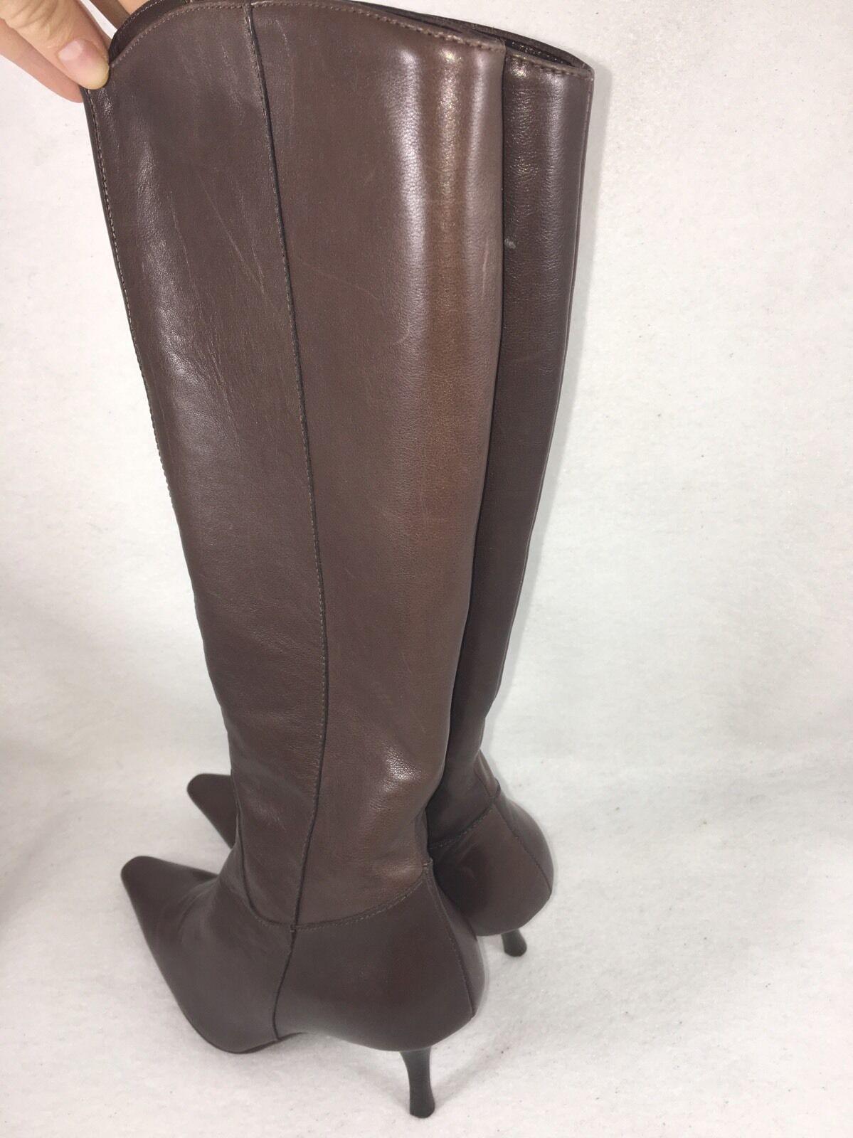 Versani 1458 Vitello Braun Italian Leder Mid Calf Boot sz 4.5 M 3