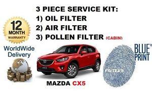 pour-Mazda-CX5-essence-2-0-2011-gt-3-pieces-service-set-Huile-Air-Pollen-Filtre-KIT