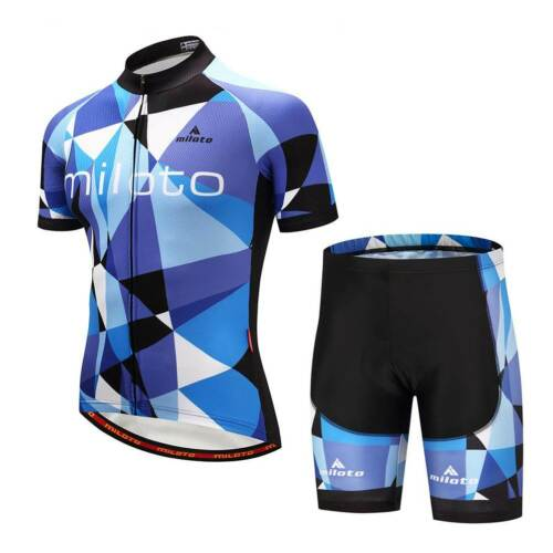 Miloto Radhose Kurz Trägerhose Trikot Herren Fahrradbekleidung Set Blau