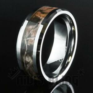 Tungsten-Carbide-Forest-Wood-Camouflage-Hunting-Band-Ring-Comfort-Fit-UNISEX-8MM