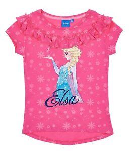 Girls-Kids-Official-Disney-Frozen-Elsa-Dark-Pink-Short-Sleeve-T-Tee-Shirt-Top