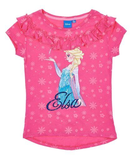 Filles Enfants Officiel Disney Frozen Elsa Rose Foncé à Manches Courtes T Tee Shirt Top
