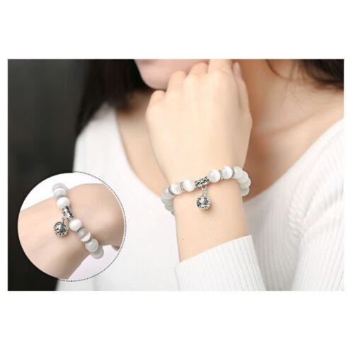 white cat eye beads bracelet with lucky pendant charms strand women bracelet Xg
