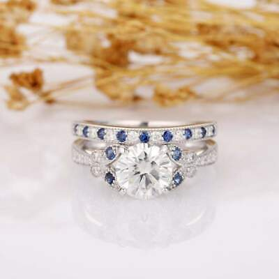 2.80 Tcw Classic Round Cut Near White Moissanite  Cushion Halo Three Row Shank Vintage Style Engagement Ring For Women